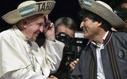 Pope Francis with leftist Bolivian President Evo Morales who was wearing a jacket displaying an image of the Communist revolutionary icon Che Guevara. Image credit: AFP/Getty